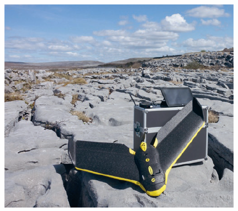 This fixed-wing eBee was used to map a karst landscape