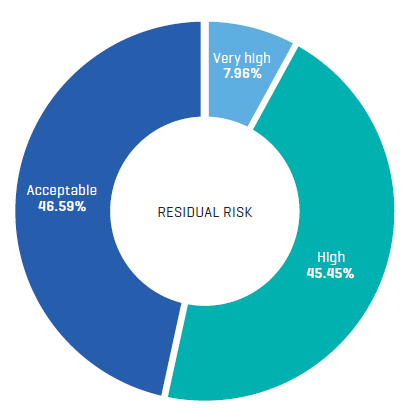 Pie chart showing residual risk score