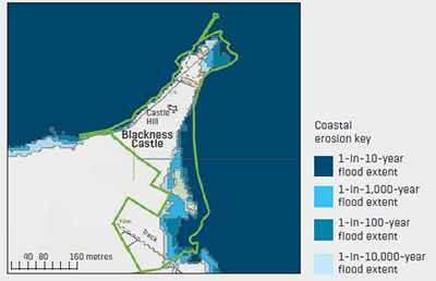 Map showing coastal flooding around Blackness Castle