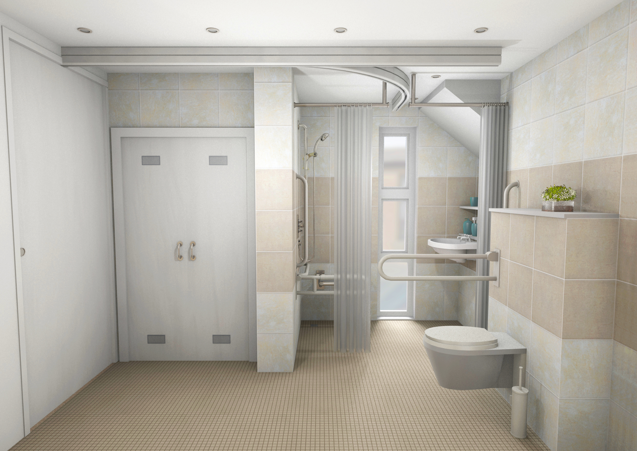 The refurbished home includes a wet room that