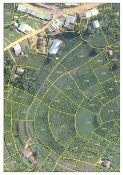 Parcel boundaries on aerial imagery of Rwanda