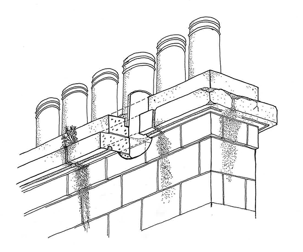 Drawing showing typical external defects in a chimney. Note the loss of water-shedding capacity due